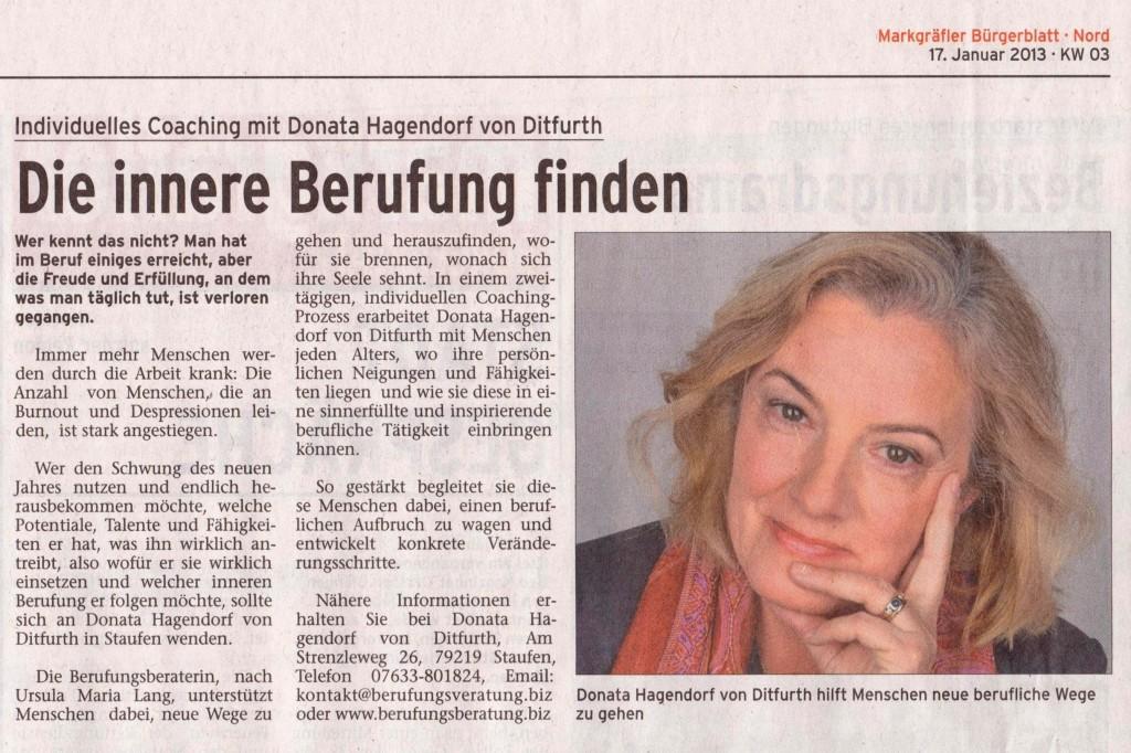 Artikel  M. Wochenblatt 01.2013