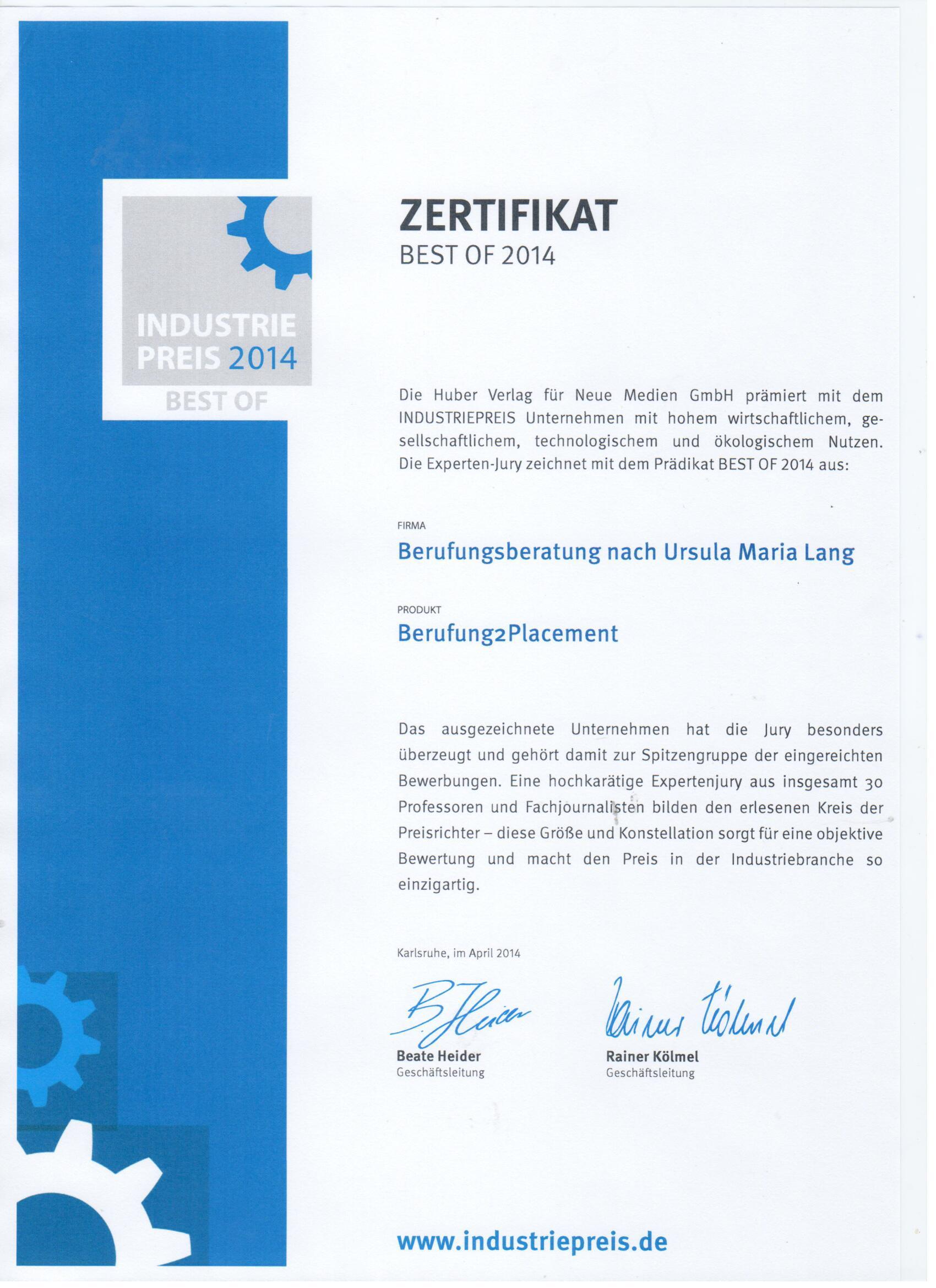 Berufungsberatung nach Ursula Maria Lang ausgezeichnet mit dem Deutschen Industriepreis 2014 - Best of Dienstleistungen